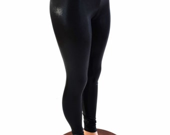 Black Mystique Metallic Shiny High Waist Lycra Spandex Leggings - 153988