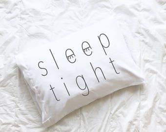Pillow Case, Sleep Tight, Monochrome, Kids Pillowcase, Monochrome Pillow Case, Sleepy Eyes, Kids Gift, Holiday Gift, Black and White