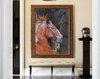 Abstract Oil Painting, Original oil painting, Living Room wall art, Extra Large Wall Art, Wall Art, Horse Oil Painting, Paintings On Canvas