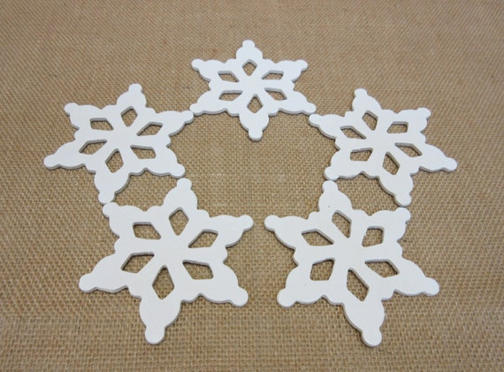 Wooden Snowflakes Large Painted White - Lot Of Five