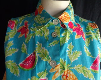 Vintage dress fruit and flowers novelty print cotton large