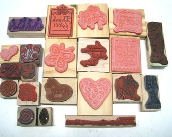 21 Stampin Up and Other Wood Block Rubber Stamp Words and Phrases Large Lot