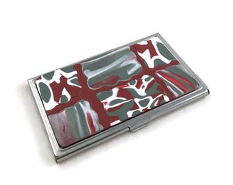 Beautiful Business Card Storage Tin Gray and Red with White Clay