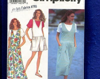 Simplicity 8423 Drop Waist Loose Fitting Rompers & Jumper Size P..S..M UNCUT