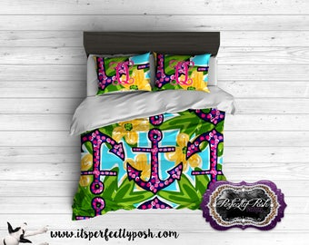 Colorful Anchor Bedding Custom Design and Personalized Comforter or Duvet with Monogram