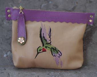 Sale! Hummingbird Zippered Leather Pouch