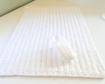 Rectangular Plush Crochet Cotton Bath Rug w/ soap bag or doily as a gift with purchase, White Bath Mat, Spa Bathroom Gift Set