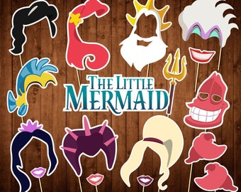 Disney Little Mermaid Photo Booth Props - Printable Props - The Little Mermaid Birthday Party - Under The Sea Photo Booth - Mermaid - Ariel
