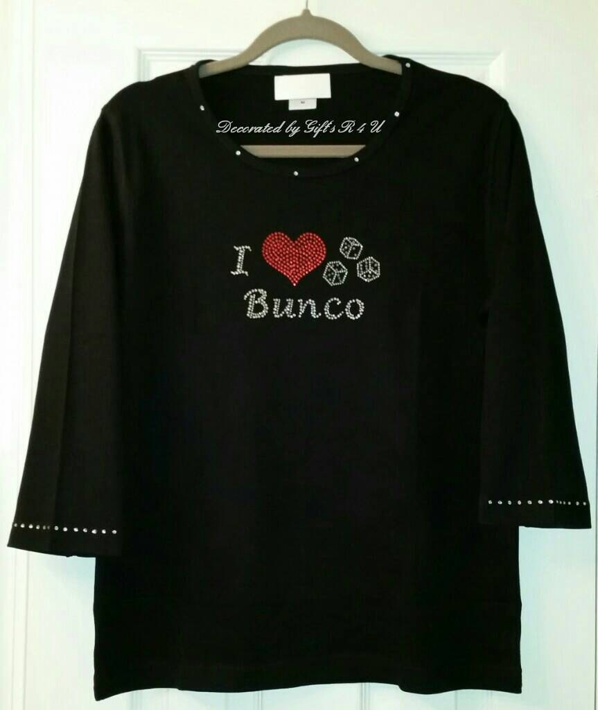 i love bunco rhinestone shirt large 60 40 cotton poly blend