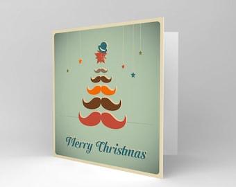 Merry Christmas Card / Moustache / Guys / For Him - CS1022