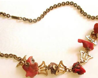 Vintage 1970's Miriam Haskell Necklace of Raw Coral and Russian Gold