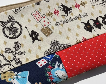 Alice in Wonderland Patchwork Zipper Pouch