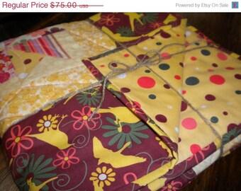 Patchwork Crib, Toddler or Lap Quilt -birds, pinwheels, and polka dots