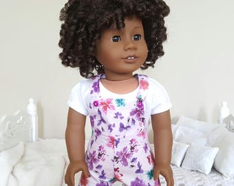 18 inch doll floral shortalls | purple overalls