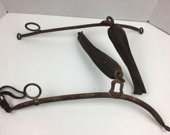 Draft Horse Leather Harness Antique Tack Gear Old Rusty Primitive Farm Decor