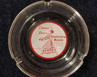 Vintage Zimmie's Diner ashtray from Mifflintown, PA