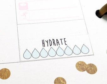 planner stickers - happy planner stickers - hydrate planner stickers - planner sticker - hydrate stickers - water stickers - hydration