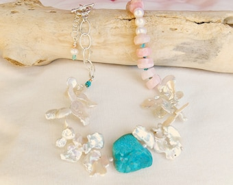 Natural Blue Stone + Natural Pink Opals + Keshi and Freshwater Pearls + Sterling Silver = Heaven