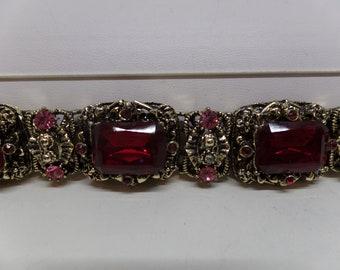 Gorgeous Vintage Red & Pink Crystal Statement Bracelet