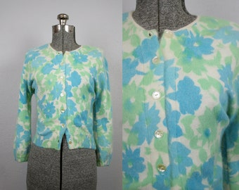 1950's Blue and Green Floral Knit Cardigan / Size Medium