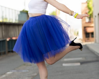 Cobalt Blue Tulle Skirt in Knee length/Midi Royal Neon Indigo Tutu Street style