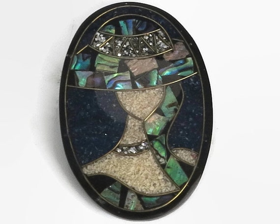 Lady brooch with paua / abalone shell, crystal chips, gold wire, woman wearing large hat and necklace, iridescent lights, c clasp