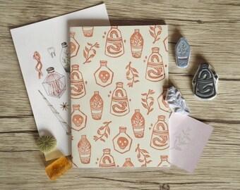 Wizard's Herbarium - Brown hand printed Notebook