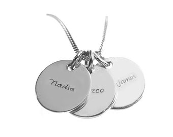 Three Disc Necklace, Engraved Names, Three Pendants Necklace, 925 Sterling Silver, Engraved Wishtext, Personalized Jewelry