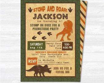 Dinosaur invitation Etsy