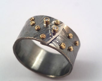Wide band, hammered, oxidized silver ring with studded gold granules and small diamonds, Mixed metal ring, Black gold ring, Textured ring