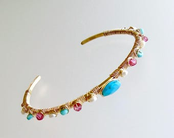 Sleeping Beauty Turquoise Pink Topaz Seed Pearls Hand Wrapped Cuff Bracelet - Ainsley Stacking Bracelet