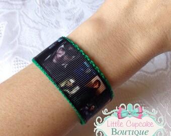 Loki (Tom Hiddleston) Wristband- Ribbon and Nylon Cuff Bracelet with Velcro- Avengers, Thor, Dark World