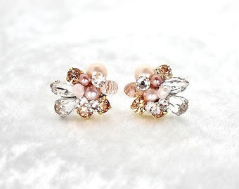 Rose Gold Earrings- Art Deco Bridal Studs- Blush Bridal Studs- Cluster Earrings- Rose Gold Studs- Clip Earrings- Vintage Inspired Studs