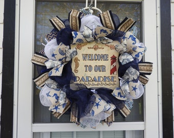 Welcome to Our Paradise Deco Mesh Wreath
