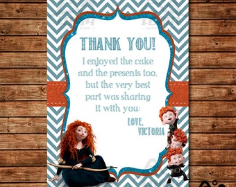 Brave Birthday Thank You, Merida Birthday, Disney Princess Thank You, Princess Birthday Thank You