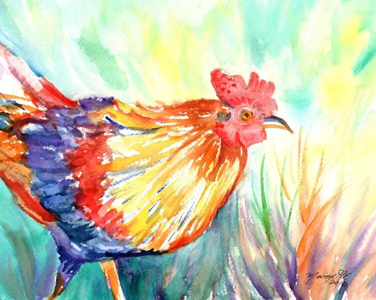 Hähne Original Aquarell-Gemälde Hühner Kauai Hawaii Küche