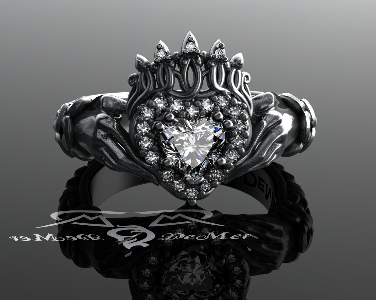 Claddagh Ring With Celtic Knot Work Weave In Solid Platinum