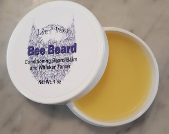 Beard Balm w Beeswax, Conditioning Butters and Oils 1 Oz. Widemouth Jar from Organic Farmer and Beekeeper Bee Beard