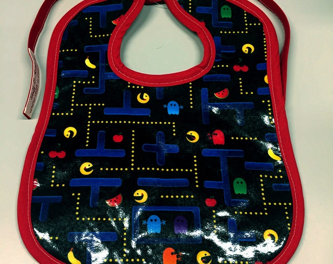 Wipeable Baby Bibs - Pacman Video Game 80s