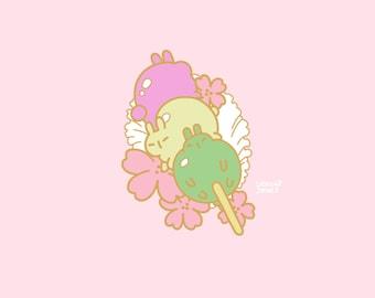 Hanami Dango Triplets Enamel Pin PREORDER, 30mm, Hard Enamel, Gold, Pink, Green, Pastel, Cute, Kawaii, Japan, Sakura, Flowers dango mochi