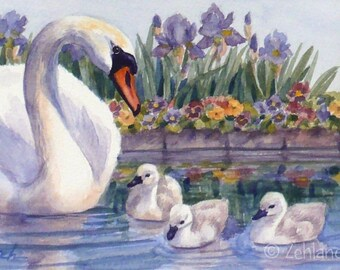 Swans Print 8x10 Baby Nursery Animal Printed Wall Art for Children by Janet Zeh Zehland