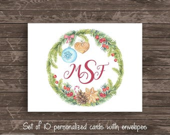 Monogram Christmas Wreath Personalized Note Card Set of 10 cards Stationery Notecard Monogrammed