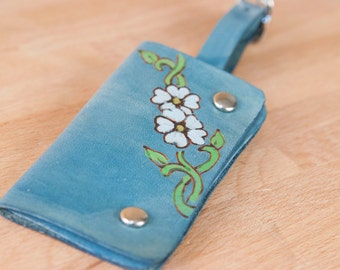 Luggage Tag - Leather in the Willow Pattern with Flowers and Vines - Use as Luggage tag or Business card case