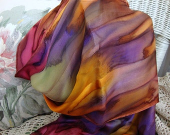 Scarf, Silk, Women, Hand Dyed, Fall Splendor