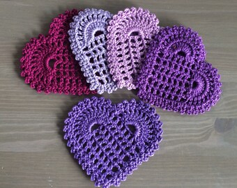 Crochet: Set of 5 shades of purple heart coasters