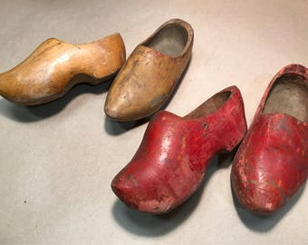 Vintage Handmade Dutch Clogs for Children 2 Pairs, Golden Yellow and Ruby Red, Carved from Solid Wood Painted with organic pigments