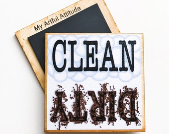 Clean Dirty Dishwasher Magnet, Dishes, Housewarming Gift, New Home, Chore Reminder Magnet