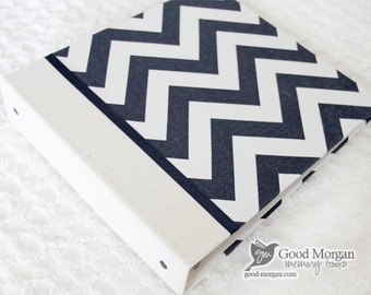 0 to 12 months Baby Memory Book - Chevron Navy