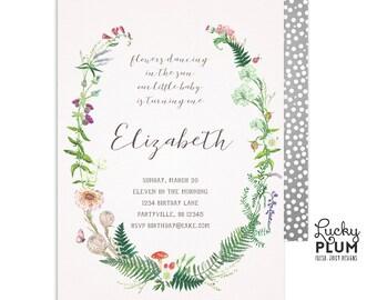 Wildflower Birthday Invitation / Wild Flower Woodland Birthday Invitation / First Birthday Invitation / Herbarium / Digital Printable WF01
