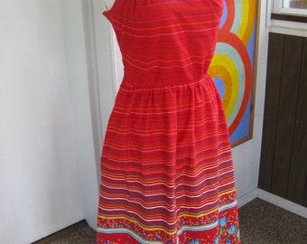 70s Red Floral Cotton Sun Dress by Dash About / M / L